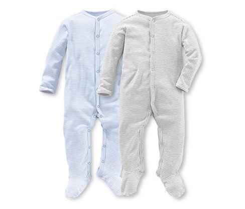 Pyžamka, světle modré a šedý melír s proužkem, 2 ks