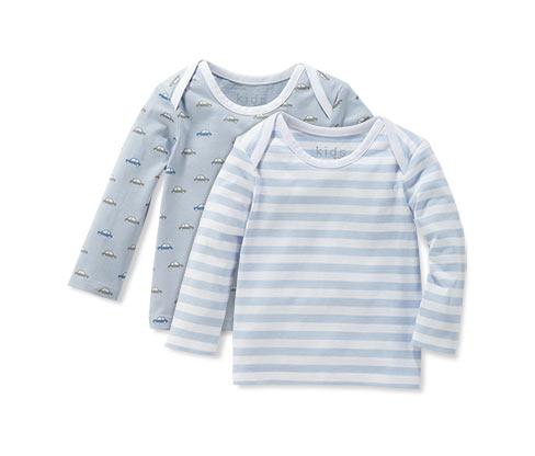Trika s dlouhým rukávem, modro-bílá, 2 ks