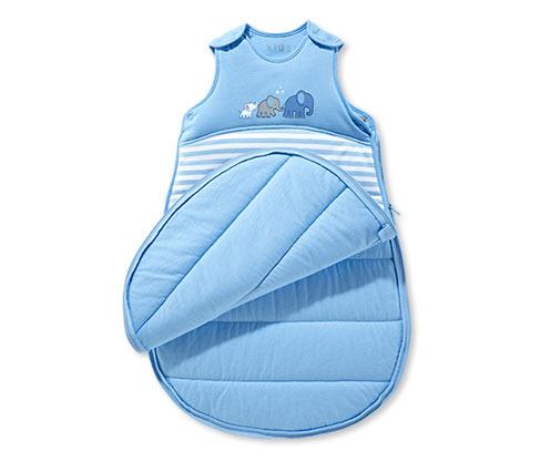 Spací pytel pro kojence, modro-bílý