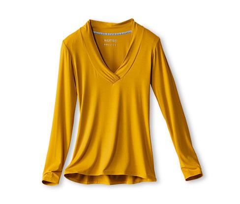 Női V-nyakú hosszú ujjú felső, sárga