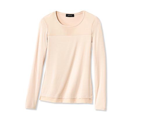 Tričko s hedvábím, zastřené bílé