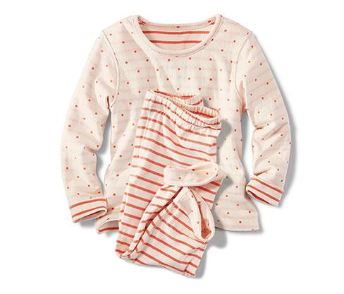 Gyerek kifordítható pizsama, narancs-fehér