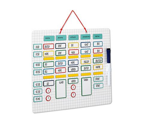 Magnetická tabule s rozvrhem hodin a plánovačem volného času