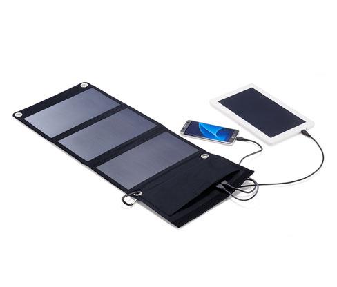 Összehajtható napelemes töltő, 2 USB