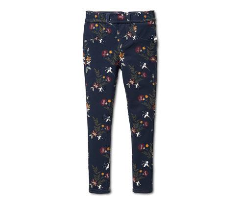 Organik Pamuklu Tayt Pantolon, Çicek Desenli Mavi