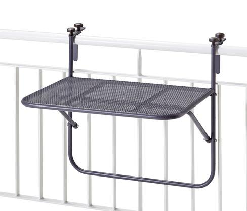Wiszący stolik balkonowy z metalu i siatki