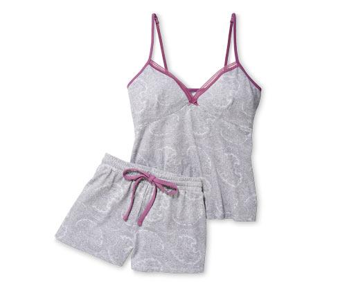 Kort pyjamas med blonder