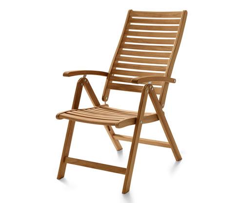 Stolička z tíkového dreva s vysokým operadlom, nastaviteľná do 6 polôh