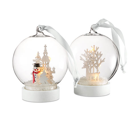 2 LED-glaskugler
