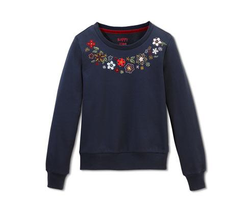 Organik Pamuklu İşlemeli Sweatshirt, Lacivert