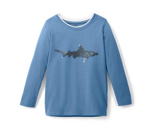 Tričko s dlhým rukávom a motívom žraloka