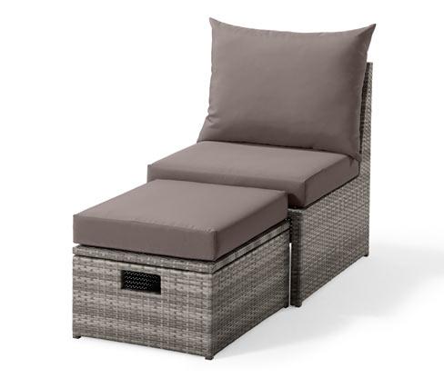 Rattan hatású kerti fotel, lábtartóval, szürke