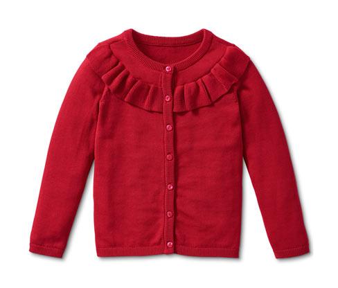 Dziewczęcy czerwony sweterek z ozdobną falbanką z przodu