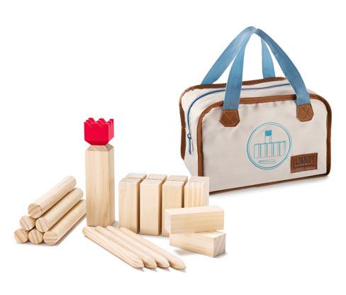 Drewniana gra Kubb z torbą do przechowywania