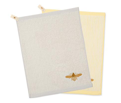 Ręczniki kuchenne z tkaniny frotté z haftem w pszczółki, 2 sztuki