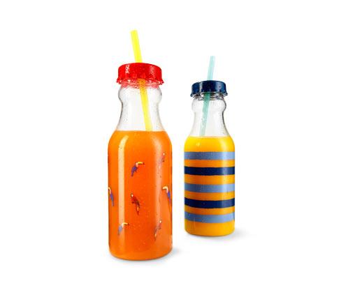 Butelki ze słomkami do picia, 2 sztuki