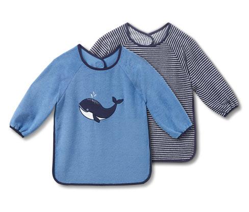 2 kisgyerek ujjas előke szettben, bálna, kék