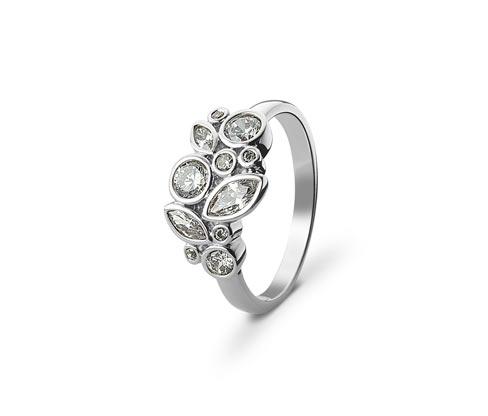 Női gyűrű cirkóniával, ezüstszínű