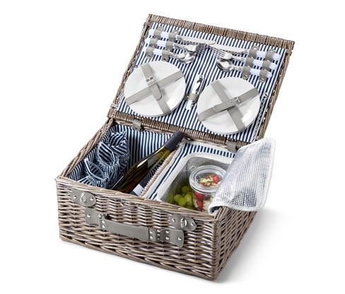 Wiklinowy kosz piknikowy z zestawem naczyń dla 4 osób