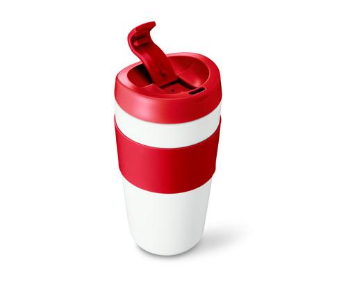 Biało-czerwony kubek do kawy na drogę