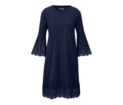 Granatowa sukienka z ozdobną, ażurową falbaną u dołu i na rękawach