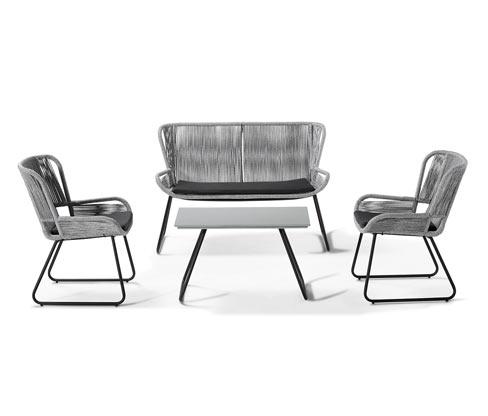 Kerti ülőgarnitúra asztallal, 4 rész, szürke