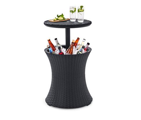Kültéri italhűtő asztal, fekete