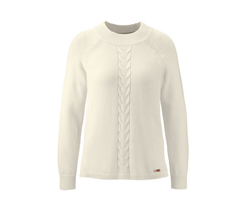 Női kötött pulóver, törtfehér