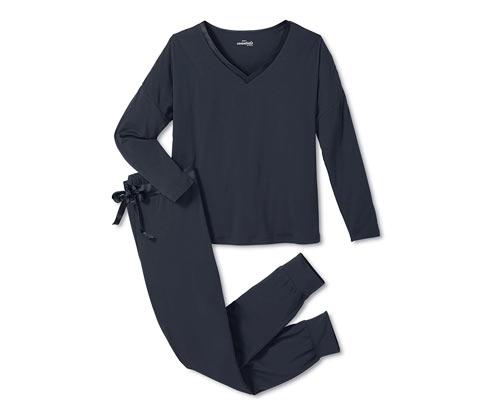 Granatowa piżama damska z modalu ze ściągaczami na nogawkach