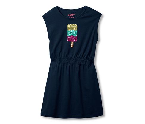 Lacivert Organik Pamuklu Payetli Jersey Elbise