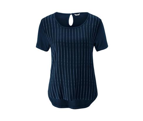 Dokuma Kısımlı Tişört, Mavi-Beyaz Çizgili