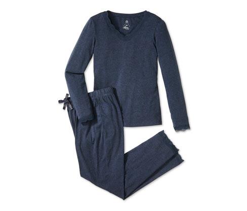 Pyjama mit Spitzenbesatz