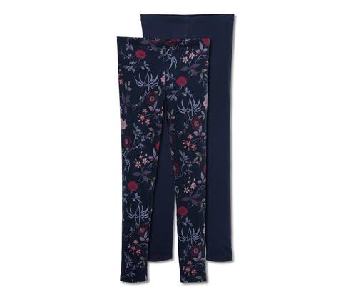 2 lány leggings szettben, sötétkék/virágos