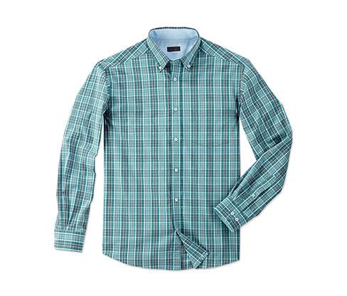 Koszula męska w drobną zielono granatową kratkę