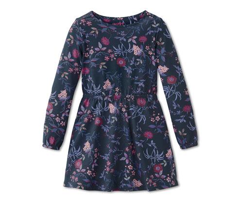 Lány ruha, sötétkék, virágos