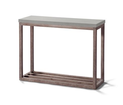 Növénytartó asztalka, cement hatású, fa