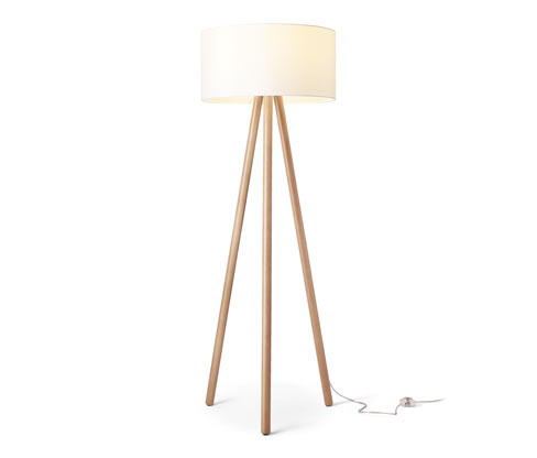 Stojací lampa s LED a textilním stínítkem