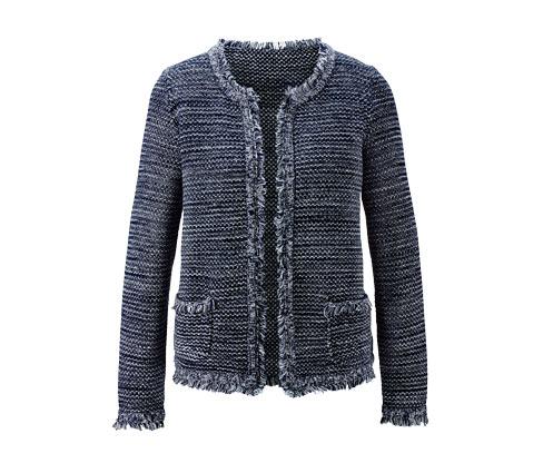 Rozpinany sweter z frędzlami