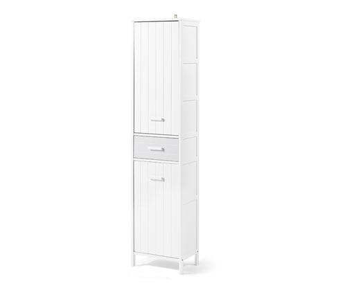 Fürdőszobai magas szekrény, fehér/szürke