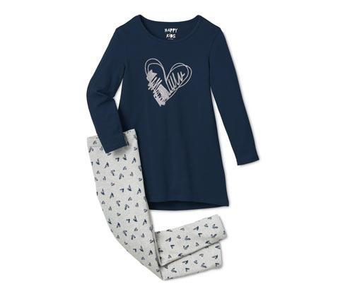 Lány pizsama, szív, sötétkék/szürke