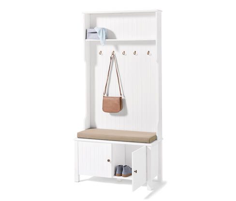 Garderobe mit Sitzbank in Lamellenoptik