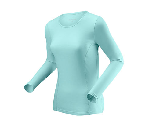 Uzun Kollu Spor Tişört, kırçıllı turkuaz