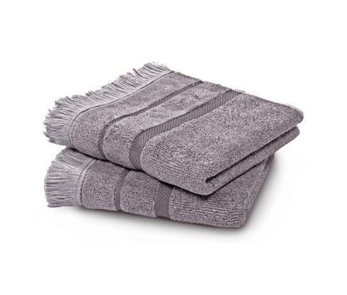 2 melierte Handtücher, grau