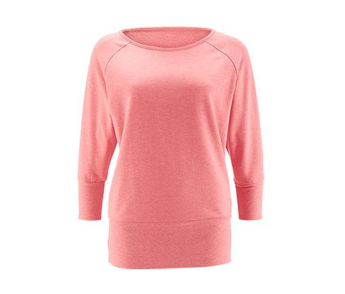 Sweatshirt med flagermusærmer, koral meleret