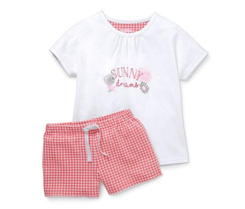 Beyaz Organik Pamuklu Şortlu Pijama Takımı