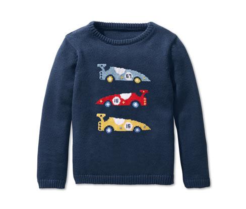 Chłopięcy pulower z delikatnej dzianiny z haftem z wyścigówką