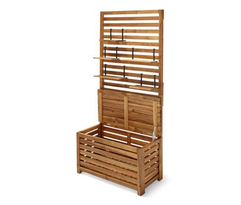 Drewniana skrzynia balkonowa z półkami