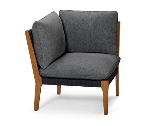 Ogrodowa sofa narożna szara