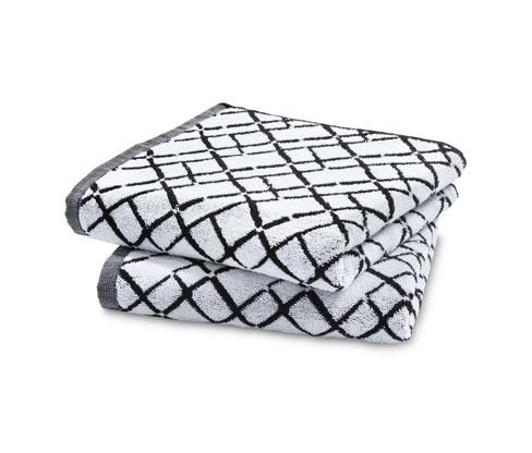 Žakárové ručníky, 2 ks, mřížkový potisk