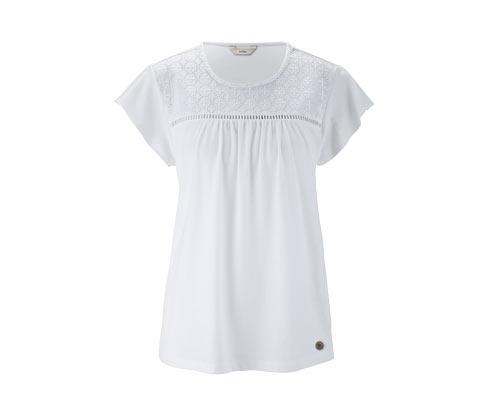 Beyaz Organik Pamuklu İşlemeli Jersey Tişört